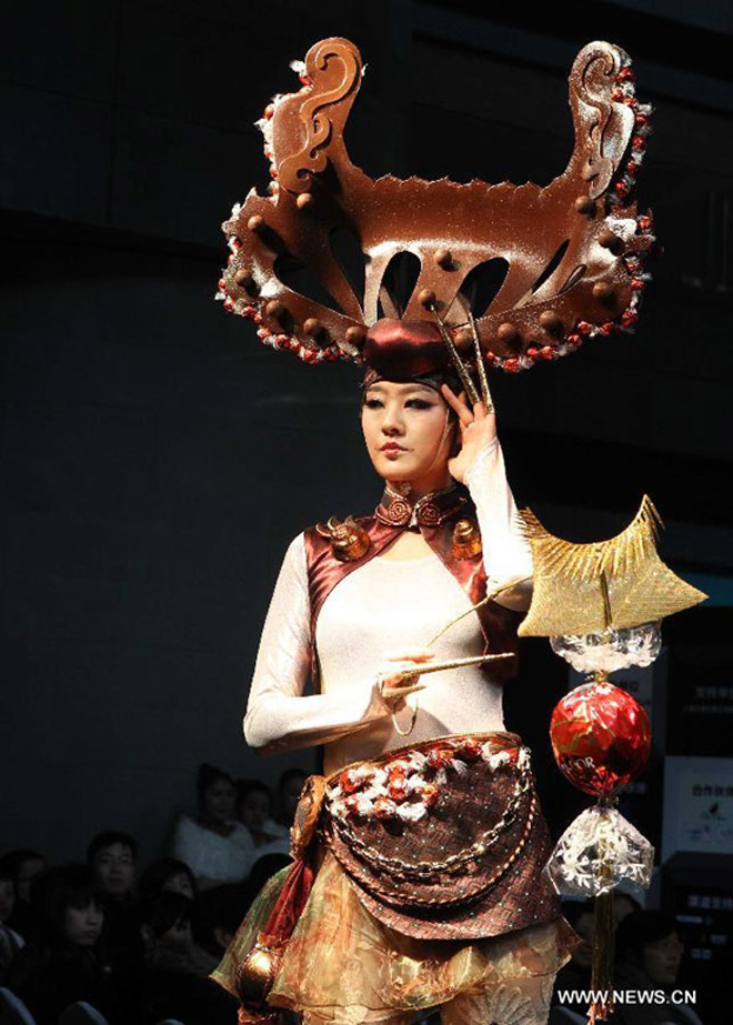 Chocolate fashion show held in Shanghai, China